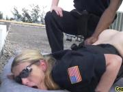 Two cock hungry female cops get their wet vaginas fucked by a handsome black felon