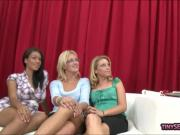 Brunette girls fucked while others are watching them