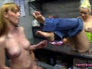 Three kinky babes shared two huge hard cocks in the kitchen