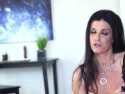 Dark haired milf enjoys dirty talking in bedroom