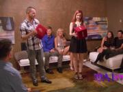 Redhead swinger couple get a third girl involved for some action