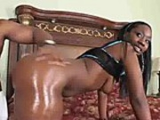 Super sexy black chick sucks thick cock before getting fucked
