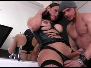 Kinky shemale Gabriella Andrade takes hard dick in her ass