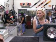 Cute blonde babe pawns her twat and slammed at the pawnshop