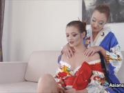 Beautiful geishas eating pussy and scissoring