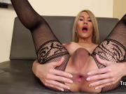 Shemale filled her ass with big dildo