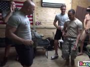 Horny gay troopers enjoy partying at barrack