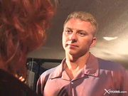 Redhead whore enjoys giving this dude the spank...