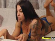 Tattoed Hot Brunette in a Seductive Pussy Display
