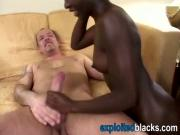Young ebony slut with small tits gets her tight pussy fucked by three white cocks