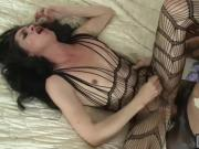 Flat chested TS Penny Tyler in pantyhose gets anal fucked