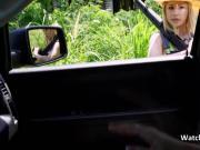 Hot hillbilly joins couple on backseat