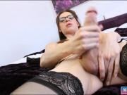 Tiny tits TS Brooklyn Roberts jerks off her big hard cock