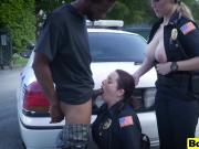 Horny and busty female cops arrest black dude so he must bang them and they will let him go