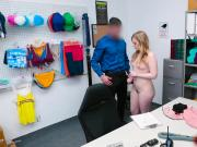 Teen blonde employee licked and fucked by LP officers dick