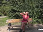 Busty amateur cocked in public park