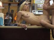 Tight blondie with glasses gets pussy fucked by pawn man