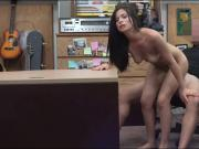 Sexy babe sucks off and gets her pussy fucked by pawn dude
