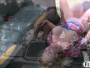 Massive boobs amateur blonde passenger fucked in public