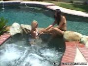 Erotic Lezzies Frolic In Swimming Pool