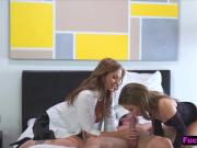 Hot and experienced mom Julia Ann gives lessons to sexy young brunette