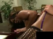 Black babe Vanessa takes hard white cock on the couch