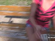Busty amateur fucked in park