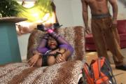 Naughty Ebony Babe Blows And Fucks Big Black Cocks