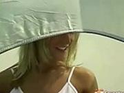 Masturbating in her tent