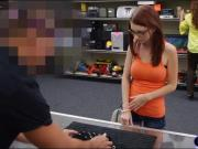 Pretty amateur in glasses gets pussy pounded by pawn keeper