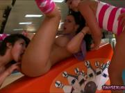 Huge boobs milfs blowjob and get fucked in bowling alley