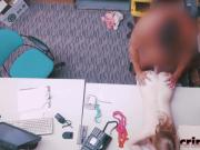 Thief Dolly gets mouth and pussy filled in office