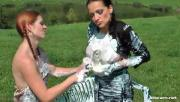 Naughty Babes Mess Up Each Other Using Whipped Cream Outdoors