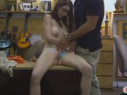 Hotbabe with glasses railed by pawn man at the pawnshop