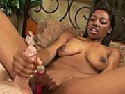 Ebony gives blowjob