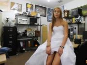 Cutie pawns her wedding gown and screwed by pawn dude