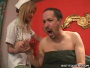 Large-Breasted Trina Michaels Strips Pleasures Patient