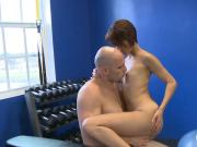 Two skinny babes get pounded by bald dude in the gym