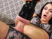 Lovely shemale fucking her big cock with a fleshlight