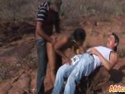 Slave From Africa Gets Double Teamed Outdoors