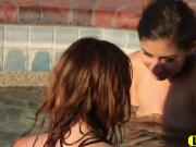 Ellena And Nina Licking Cunts In Pool Outdoors