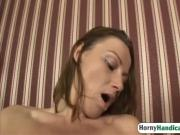 Cute young blonde wife reverse fucking her handicap husband