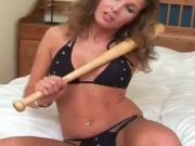Sexy girl fucking a baseball bat