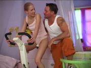 Blonde teen fucked on the exercise bike