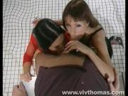 Two Shameless Girls Cum Over One Stiff Staff