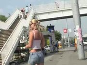 blonde slut gets nude in public