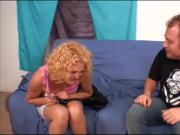 Curly-Haired Blonde Babe Sucks & Humps Throbbing Rod