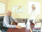 horny student lets the counselor go down on her after a bj