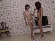 Two Ladyboys Give Handjob