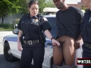Watch some bouncy tits riding a big black cock on the streets!